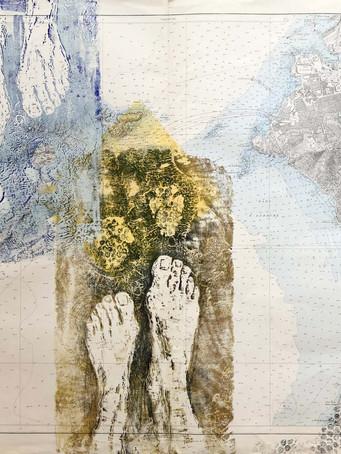 Tereza Lochmann, Abords Sud de Marseille, 2020, gravure sur bois et technique mixte sur carte de navigation, 74 x 105 cm.