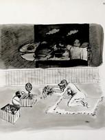Mao To Laï, Essai de perruques, c.1970-1973, encre de chine sur papier, 49,7 x 64,8 cm.