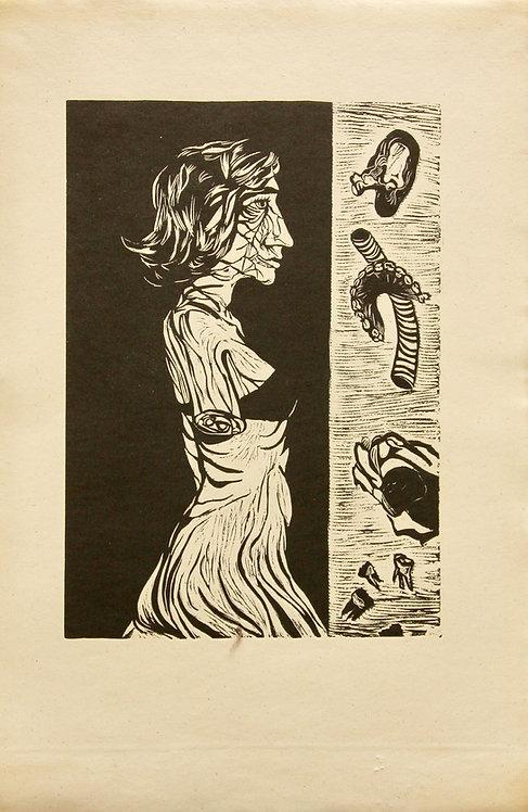 Fernand Teyssier, Etude pour un état d'âme, 1964, linogravure sur papier.