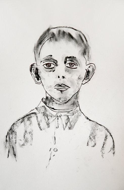 Ilya Grinberg, sans titre, 2020, fusain et feutre sur papier.