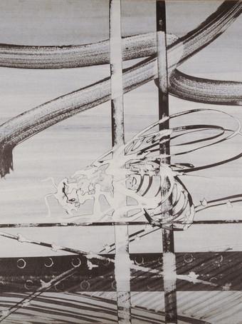 Mao To Laï, Mémoire d'images - Cadarache - Reine irradiée, c.1985-1995, encre de chine sur papier marouflé sur bois, 80 x 120 cm.