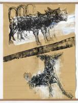 Tereza Lochmann, Policeman, 2018, gravure sur bois et acrylique sur Manila paper, 122 x 90 cm