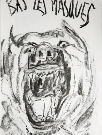 Ilya Grinberg, Bas les masques, 2019, fusain sur papier, 30 x 21 cm.
