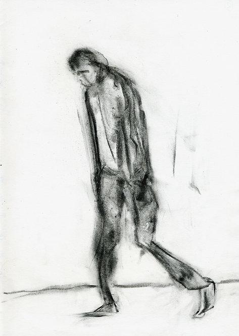 Ilya Grinberg, Dans le jardin de l'HP, 2019, fusain sur papier.