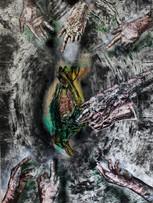 Tereza Lochmann, Mutualité I, gravure sur bois et acryliquesur papier Japon, 205 x 137 cm.