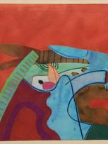 Fernand Teyssier, L'âne bleu, c.1975, encre et pastel gras sur papier, 49 x 52 cm.