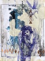 Tereza Lochmann, Cupidone, stylo bille et acrylique sur papier ligné, 30 x 20 cm.