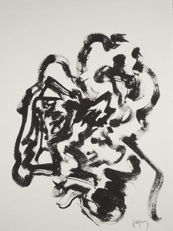 Jacques Grinberg, sans titre (ou Autoportrait à la Rembrandt), 2009, encre de chine sur papier, 76 x 56 cm.