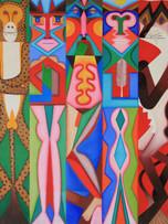 Fernand Teyssier, Deux totems gardés par le chien et le jaguar pour un homme désespéré, 1983, huile sur toile, 162 x 130 cm.