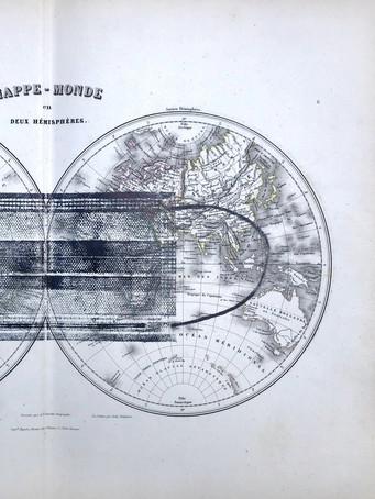 Tereza Lochmann, Mappe-monde, montype sur carte, 34 x 45 cm.