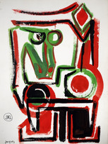 Jacques Grinberg, Signe du serpent, c.1982, gouache sur papier, 56 x 76 cm.