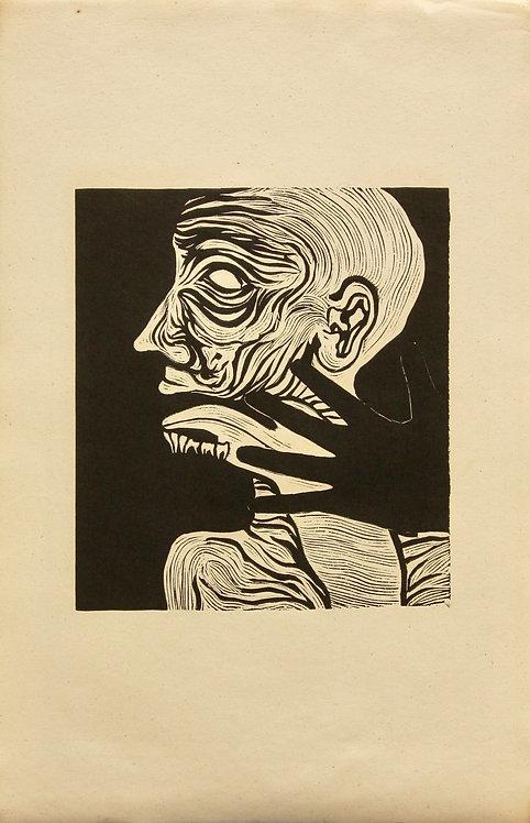 Fernand Teyssier, Tête assortie, 1964, linogravure sur papier.