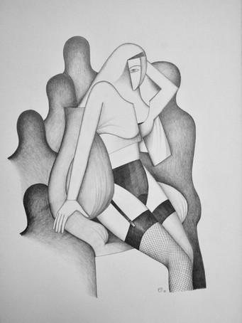 Fernand Teyssier, sans titre, 1979, crayon sur papier, 77 x 56 cm.
