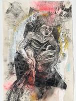 Tereza Lochmann, Babaylan 1, 2019. gravure sur bois sur papier japon 60g, 97 x 67 cm.
