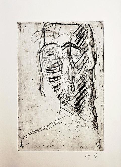 Ilya Grinberg, Rage, 2008, pointe sèche sur cuivre.