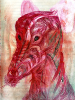 Tereza Lochmann, sans titre, 2016, stylo bille et pigment sur papier, 30 x 20 cm.