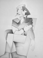 Fernand Teyssier, Autoportrait, 1979, crayon sur papier, 75 x 55 cm.