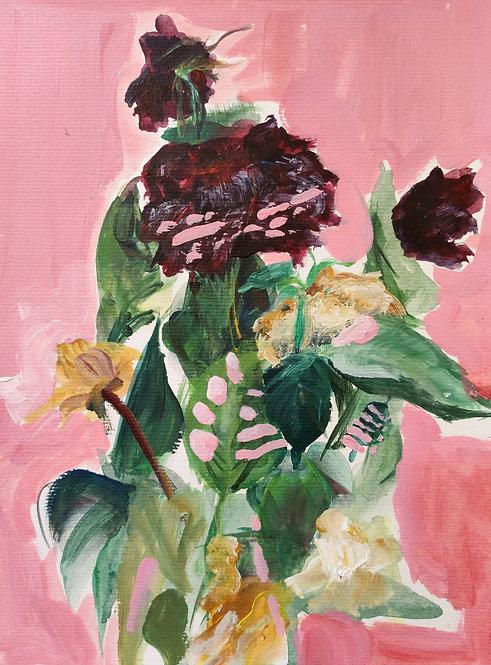 Tereza Lochmann, Roses, 2020, acrylique sur papier.