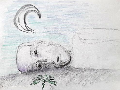 Ilya Grinberg, sans titre, 2020, fusain et crayon de couleur.