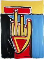 Jacques Grinberg, Main (ou L'interdit), c.1990-1995, huile sur toile, 130 x 97 cm.