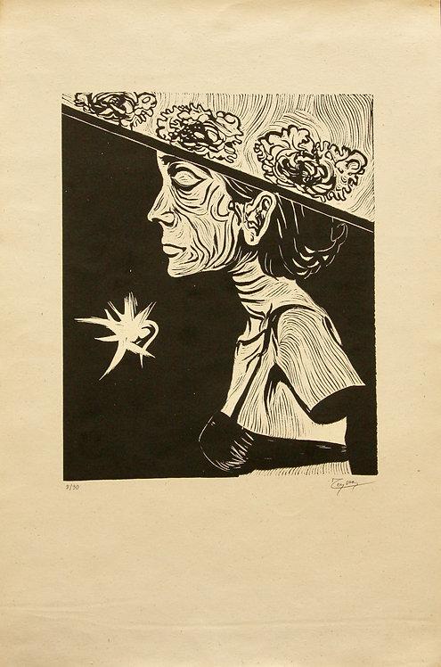 Fernand Teyssier, sans titre, 1964, linogravure sur papier.