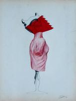 Fernand Teyssier, sans titre, 1964, crayon, pastel gras et papier découpé sur papier, 64 x 50 cm.