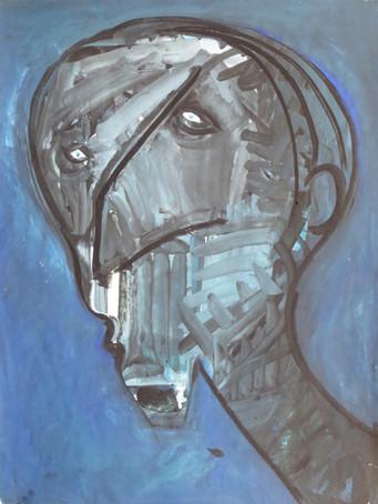 Ilya Grinberg, Samourai, c.1990-1993, gouache sur papier, 65 x 50 cm.