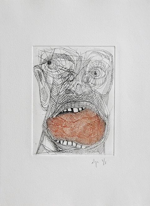 Ilya Grinberg, Langue de pierre, 2008, pointe sèche sur cuivre.