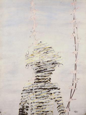 Mao To Laï, Otages - Camp 5, c.1985-1995, encre de chine et pastel sur papier marouflé sur bois, 65 x 50 cm.