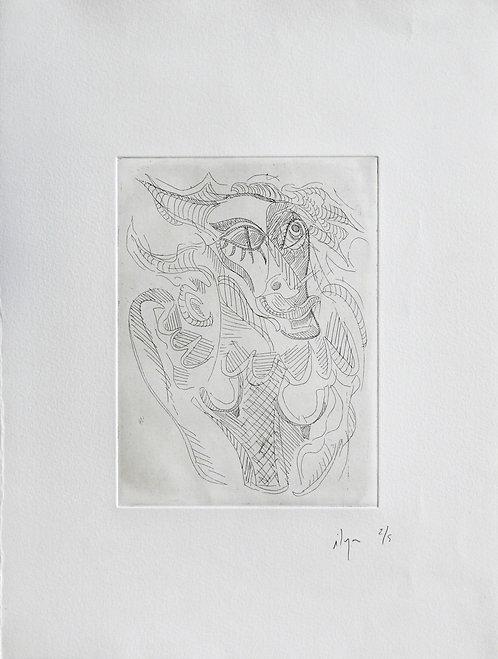 Ilya Grinberg, Arlequin, 2008, pointe sèche sur cuivre.