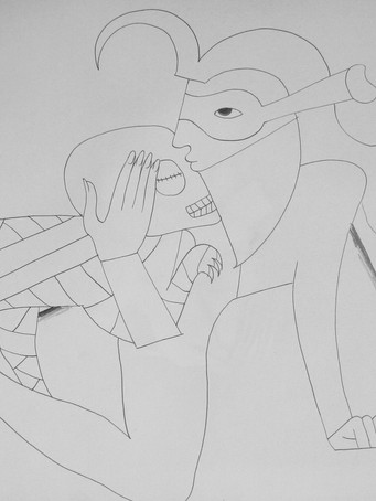 Fernand Teyssier, La mort blessante, 1978, crayon sur papier, 50 x 65 cm.