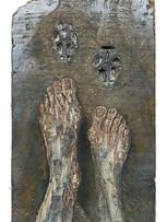 Tereza Lochmann, Rencontre du TroisièmeType, 2020, relief et encres lithographiques sur bois, 50 x 30 cm.