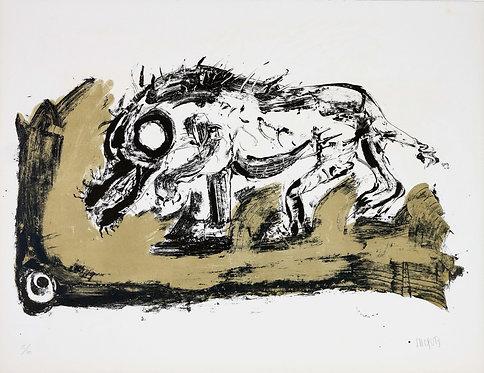 Jacques Grinberg, Le changement en Cain (Caïnabel), 1971, lithographie.