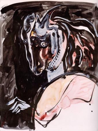 Ilya Grinberg, Une femme nommée cheval, c.2000-2005, encre de chine, gouache et aquarelle sur papier, 65 x 50 cm.