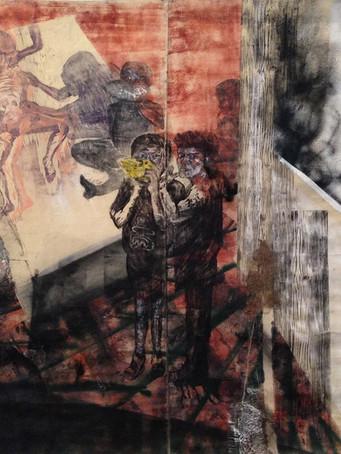 Tereza Lochmann, Cache-cache, gravure, acrylique et cire sur toile, 230 x 342 cm.
