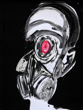 Ilya Grinberg, Acné juvénile, 2020, technique mixte sur papier, 80 x 60 cm.