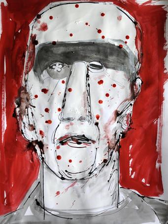Ilya Grinberg, La contagion, 2018, technique mixte sur papier, 65 x 50 cm.