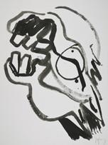 Jacques Grinberg, Tête de cheval, 2008, encre de chine et gouache sur papier, 76 x 56 cm.