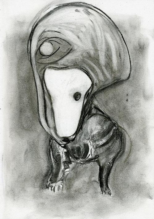 Ilya Grinberg, Rêve de chien, 2019, fusain sur papier.