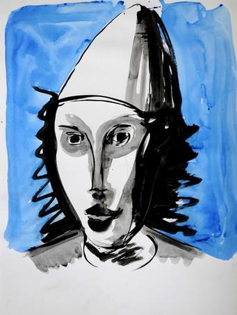 Ilya Grinberg, Autoportrait en clown blanc, 2020, encre sur papier, 65 x 50 cm.