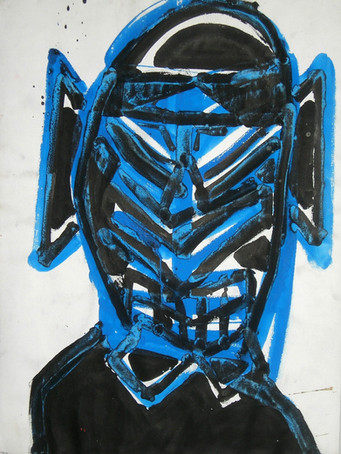 Ilya Grinberg, Samourai, c.1989-1991, gouache sur papier, 76 x 56 cm.