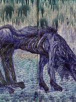 Tereza Lochmann, sans titre, 2016, stylo bille et pigment sur papier, 30 x 40 cm.