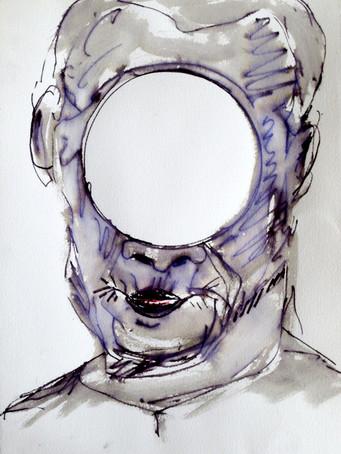 Ilya Grinberg, sans titre, 2017, technique mixte sur sur papier, 38 x 28 cm.