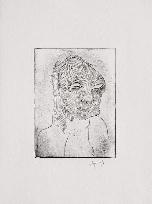 Ilya Grinberg, sans titre, 2008, pointe sèche sur cuivre.