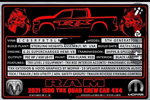 2021+ Ram TRX fuse box build plate-customized