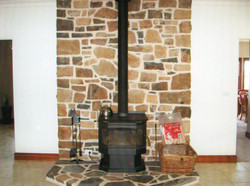 Basalt wall and hearth