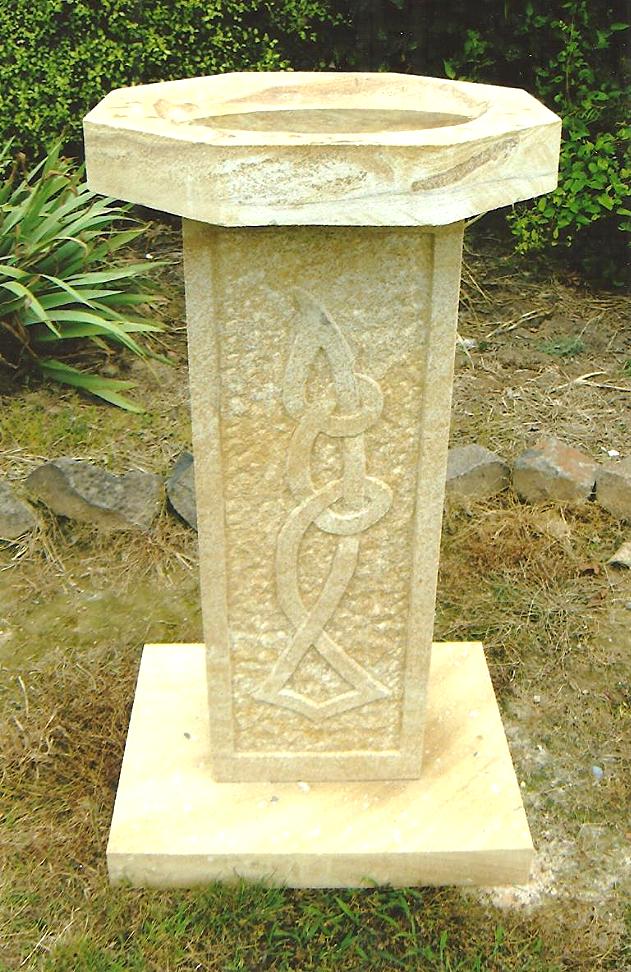 Birdbath with Celtic carving