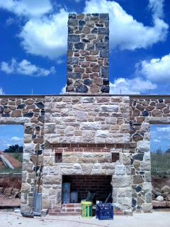 Sandstone and Basalt fireplace