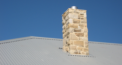 Stone cladding to Chimney