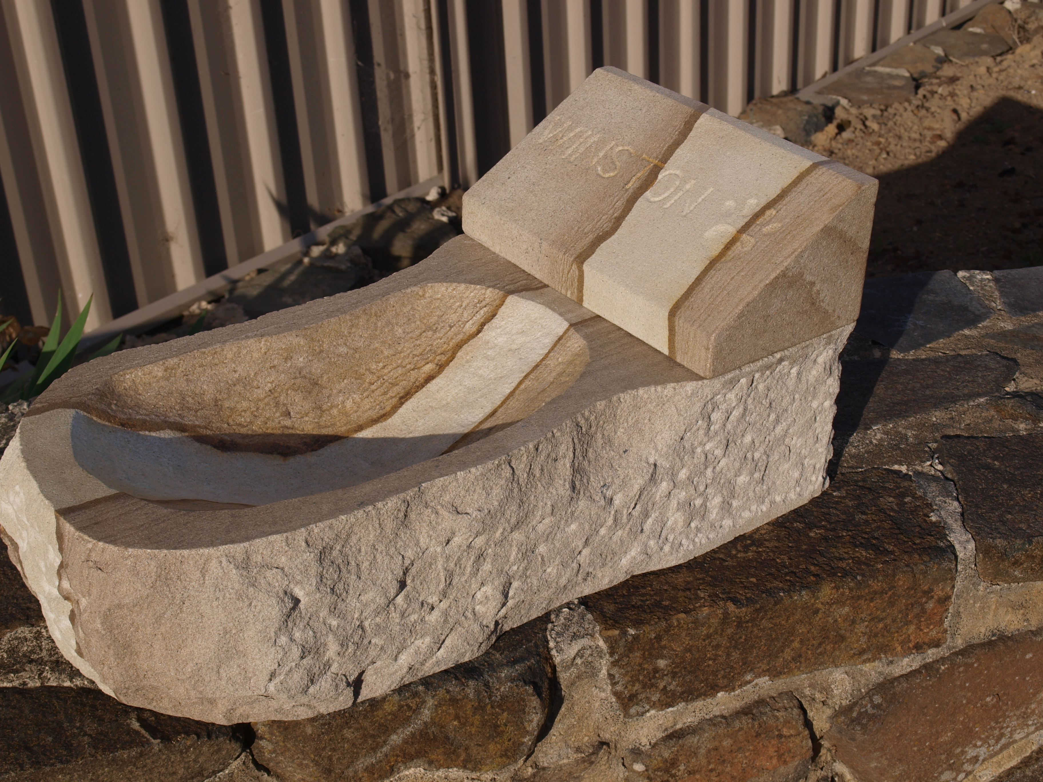 Pet Memorial Stone with Water Bowl